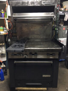 TWO BURNER, FLAT GRILL, SALAMANDER, AND OVEN COMBO FOR SALE