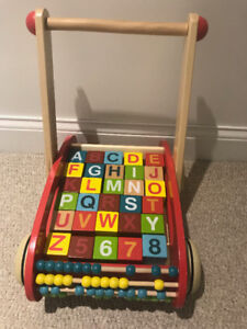Janod ABC Buggy Cart with letter and number blocks