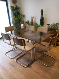 Vintage 70s Smoked glass dining table and marcel Breuer style chairs