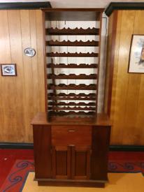 Mahogany Wood wine rack with Cupboards