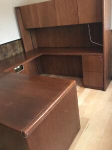 Executive Desk and Bookshelf
