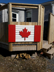 Wooden Canada Flag Signs.