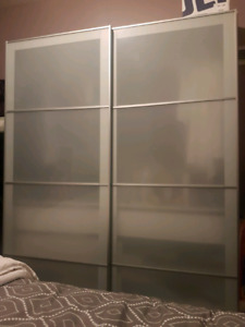 Frosted glass white Pax wardrobe sliding doors with frames