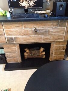 Record player faux fireplace and bar