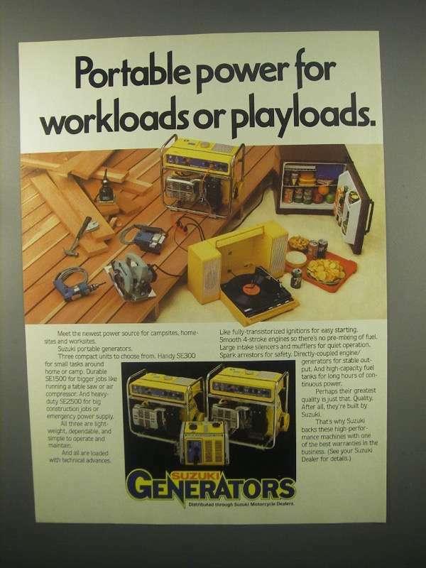 1982 Suzuki SE300, SE1500, SE2500 Generator Ad