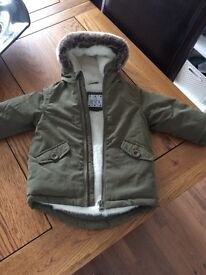 Baby 6-9 month fur lined parka- brand new