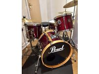Pearl Export Drum Kit Wine Red With Cymbals, Stool, Sticks, Pedal, Hardware.