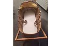 Mamas & Papas moses basket & wooden stand with mattress, sheets and cotton hood, etc