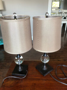 Two Lead Crystal Table Lamps