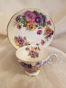 "Vintage Queen Anne Bone China ""Spring Melody"" Teacup & Saucer"