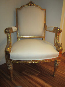 French Antique Gold Gilt Carved Dining Chair