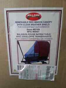 Removable Red Wagon Canopy with cĺear weather shield