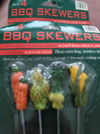BBQ extra long Skewers with decorative handles