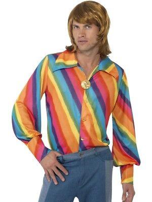Hippie Hemd 60er Jahre Flower Power regenbogen Shirt - 60er Jahre Hippie Kostüm Shirt