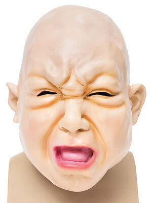 Baby Boy Fat Face Overhead Rubber Latex Scary Halloween Fancy Dress Accessory