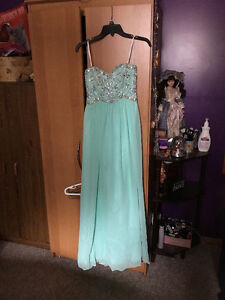 5/6 prom girl strapless light green prom dress