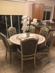 Stone dining table with chairs