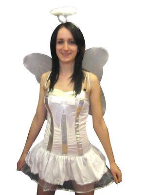 Sexy Bianco da Fata Angel Costume Vestito 4pz