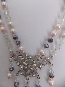 Soft Pink and Mauve double strand glass pearls and crystals