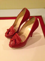 Authentic Christian Louboutin Leather Very Rare Red 38 EU Pumps