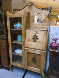 Lovely Solid Wood Antique Secretary Desk & Glass China Cabinet