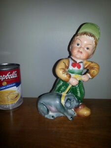 Vintage Hand Painted Ceramic Boy and Pig Figure