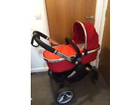 Icandy peach stroller carry cot, buggy and car seat set (tomato) with added extras