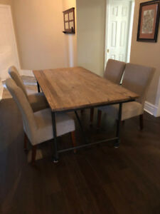 Gorgeous Reclaimed Wood Table with steel legs & 4 custom chairs