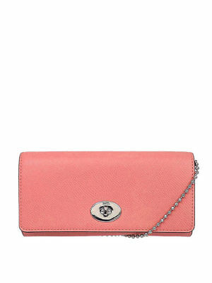 NWT Coach Crossgrain Leather Slim Chain Envelope Wallet Purse in Pink F 53124