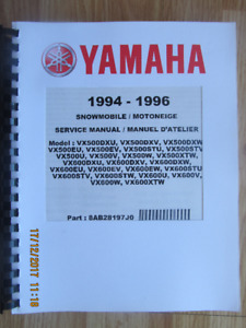 YAMAHA SNOWMOBILE SERVICE MANUALS
