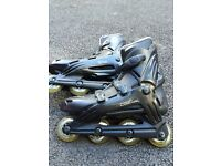 Two pairs skates /roller blades adult size . Very heavy duty famous brand rollerblades .