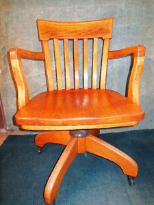 Vintage Oak Swivel Chair