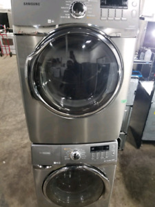 SAMSUNG STAINLESS STEEL STACKABLE WASHER & DRYER