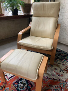 Wood and cream real leather chair with ottoman