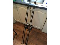 2 X carp rods and reels