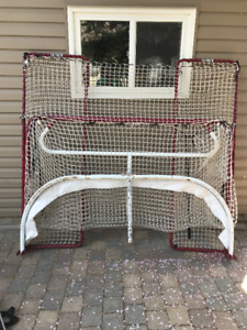 Hockey net with backstops