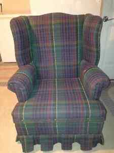 Plaid wing back chair.
