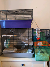 Huge 3 cage habit for small animals with all accessories