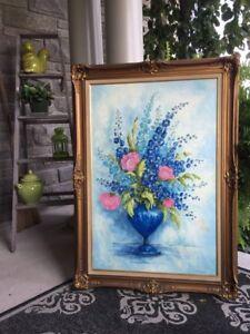 Large framed original painting, Large wood frame, signed