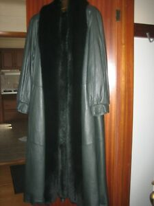 Women's Green Full Length Leather Coat with Fox Trim