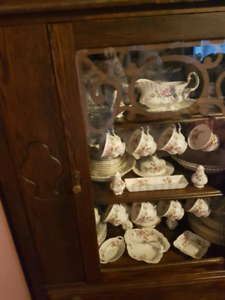 Royal Albert Moss Rose dishes with China cabinet