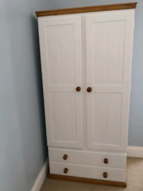 Painted pine wardrobe and drawers