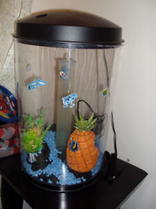 COLOR CHANGING ACRYLIC CYLINDER  3 GALLON FISH TANK