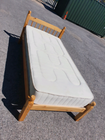 SINGLE PINE BED WITH GOOD QUALITY MATTRESS