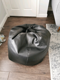 Faux leather black beanbag