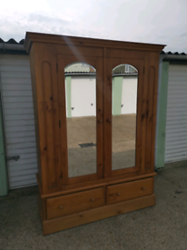 Huge solid pine double wardrobe with drawers, local delivery possible
