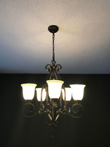 Dining Room chandelier in espresso with marbleized glass