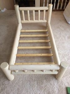 Knotty Pine real wood toddler bed