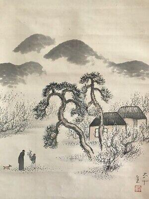 Japanese Hanging Scroll Kakejiku Hand Paint Paper Landscape Antique Y335
