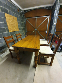 Wooden Kitchen Table + 4 chairs